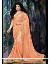 Embroidered Net Classic Designer Saree In Peach