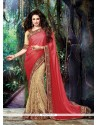 Magnetic Embroidered Work Beige And Red Classic Designer Saree