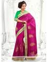 Fascinating Magenta Embroidery Designer Saree