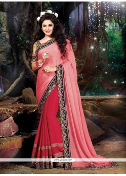 Lovable Chiffon Satin Pink Patch Border Work Classic Designer Saree