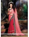 Lovable Chiffon Satin Pink Patch Border Work Classic Designer Saree