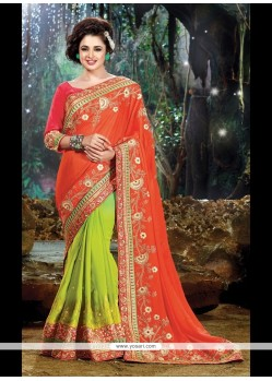 Ravishing Chiffon Satin Green And Orange Classic Designer Saree