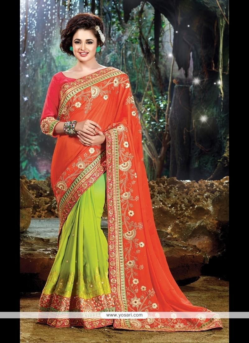Ravishing Chiffon Satin Green And Orange Classic Designer Saree