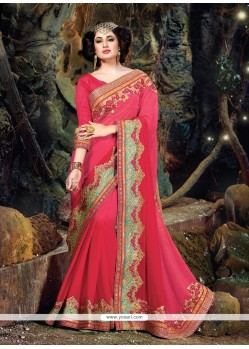 Flattering Hot Pink Patch Border Work Pure Chiffon Classic Designer Saree
