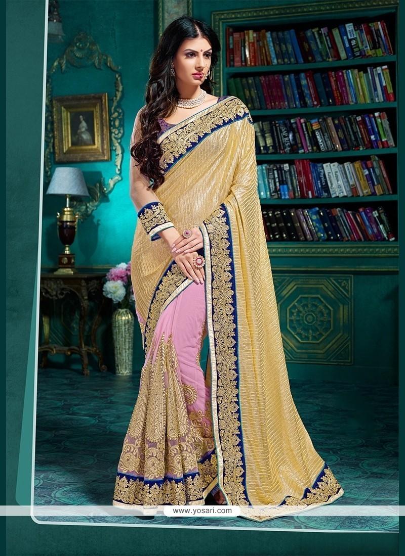 Lovely Lycra Beige Classic Designer Saree