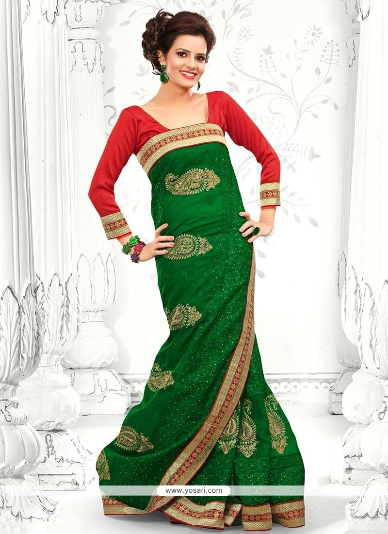 Excellent Green Cotton Saree