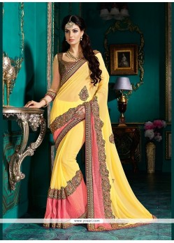 Savory Georgette Yellow Classic Designer Saree