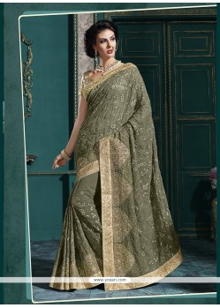 Orphic Georgette Embroidered Work Classic Designer Saree