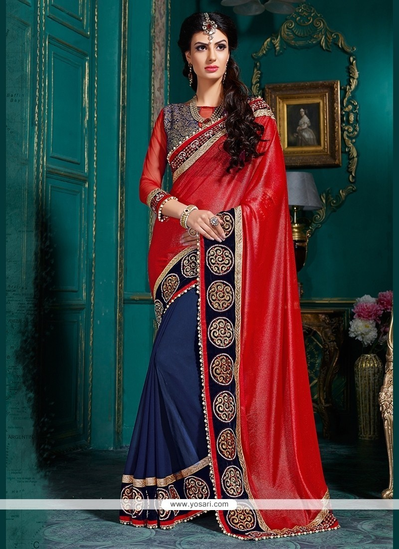 Distinctive Satin Navy Blue And Red Embroidered Work Classic Designer Saree