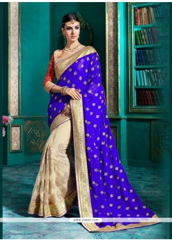 Vehemently Blue Embroidered Work Georgette Classic Designer Saree
