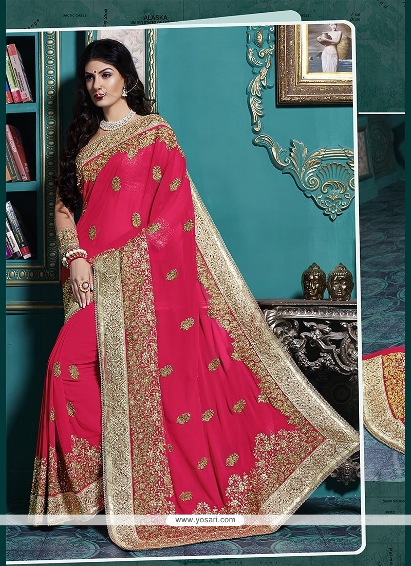 Gratifying Patch Border Work Georgette Classic Designer Saree