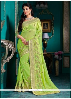 Modernistic Georgette Embroidered Work Classic Designer Saree