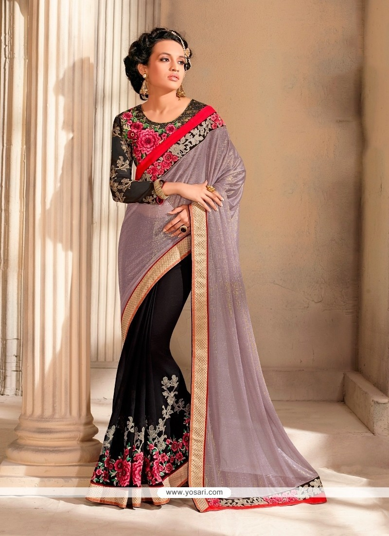 Adorable Patch Border Work Designer Saree