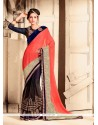 Lustrous Satin Navy Blue Designer Saree