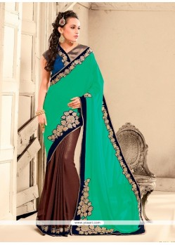 Lively Bamber Georgette Brown Patch Border Work Designer Saree