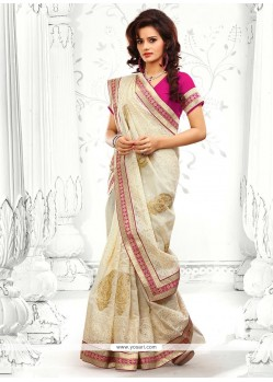 Elite Off White Cotton Designer Saree