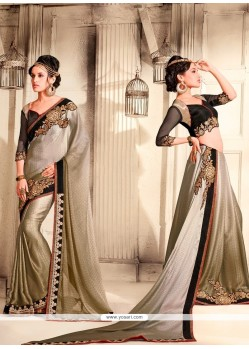 Superb Crepe Jacquard Patch Border Work Designer Saree