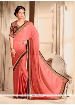 Deserving Chiffon Satin Pink Designer Saree