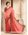 Deserving Chiffon Satin Pink Designer Saree