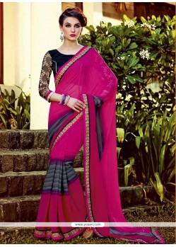 Groovy Embroidered Work Georgette Designer Saree