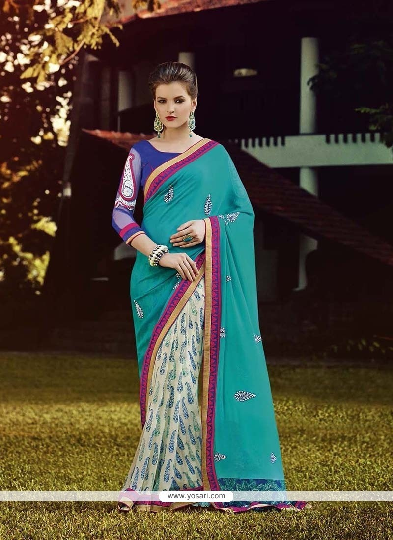 Elite Georgette Embroidered Work Designer Saree