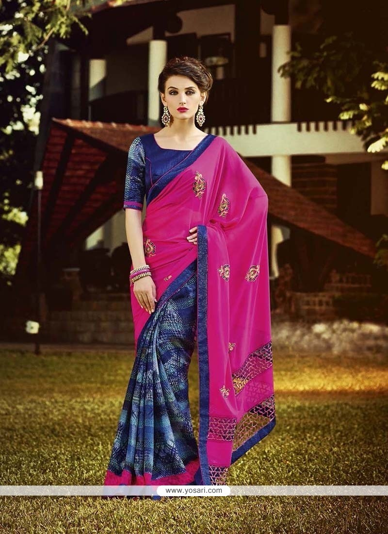 Girlish Georgette Hot Pink Embroidered Work Designer Saree