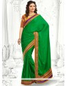 Decent Green Satin Chiffon Saree