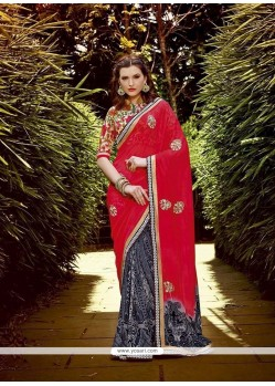 Capricious Georgette Grey And Red Designer Saree
