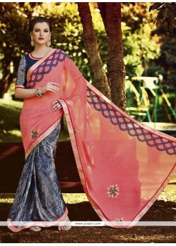 Attractive Grey Patch Border Work Georgette Designer Saree