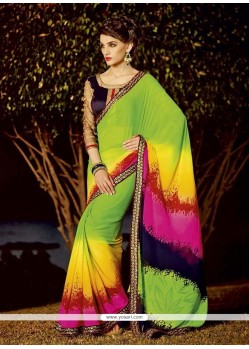 Majesty Georgette Patch Border Work Designer Saree