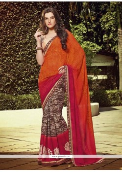 Gilded Multi Colour Georgette Designer Saree