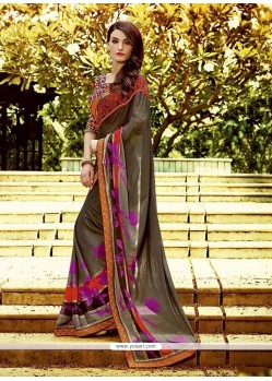 Pleasance Multi Colour Embroidered Work Georgette Designer Saree