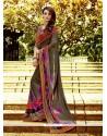 Pleasance Multi Colour Embroidered Work Georgette Designer Saree