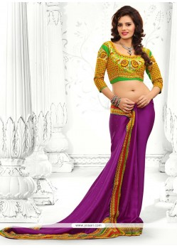 Purple Embroidery Faux Chiffon Saree