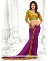 Purple Embroidery Faux Chiffon Saree