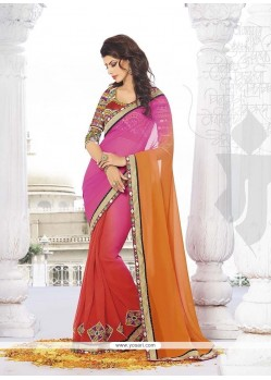 Flamboyant Jacquard Embroidered Work Classic Designer Saree