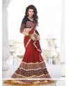 Remarkable Red Embroidered Work Classic Designer Saree
