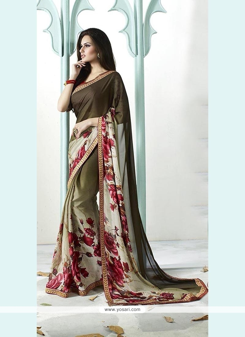 Lovely Patch Border Work Designer Saree
