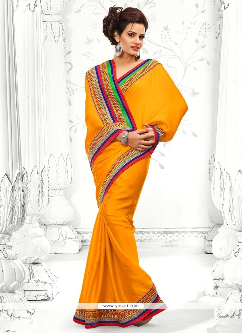 Fab Orange Crystal Work Chiffon Saree