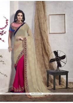 Savory Jacquard Hot Pink Designer Saree