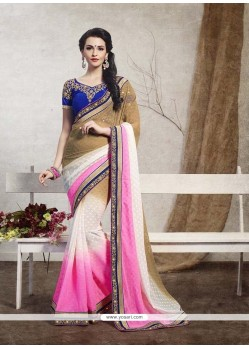 Magnetize Pink Patch Border Work Jacquard Designer Saree