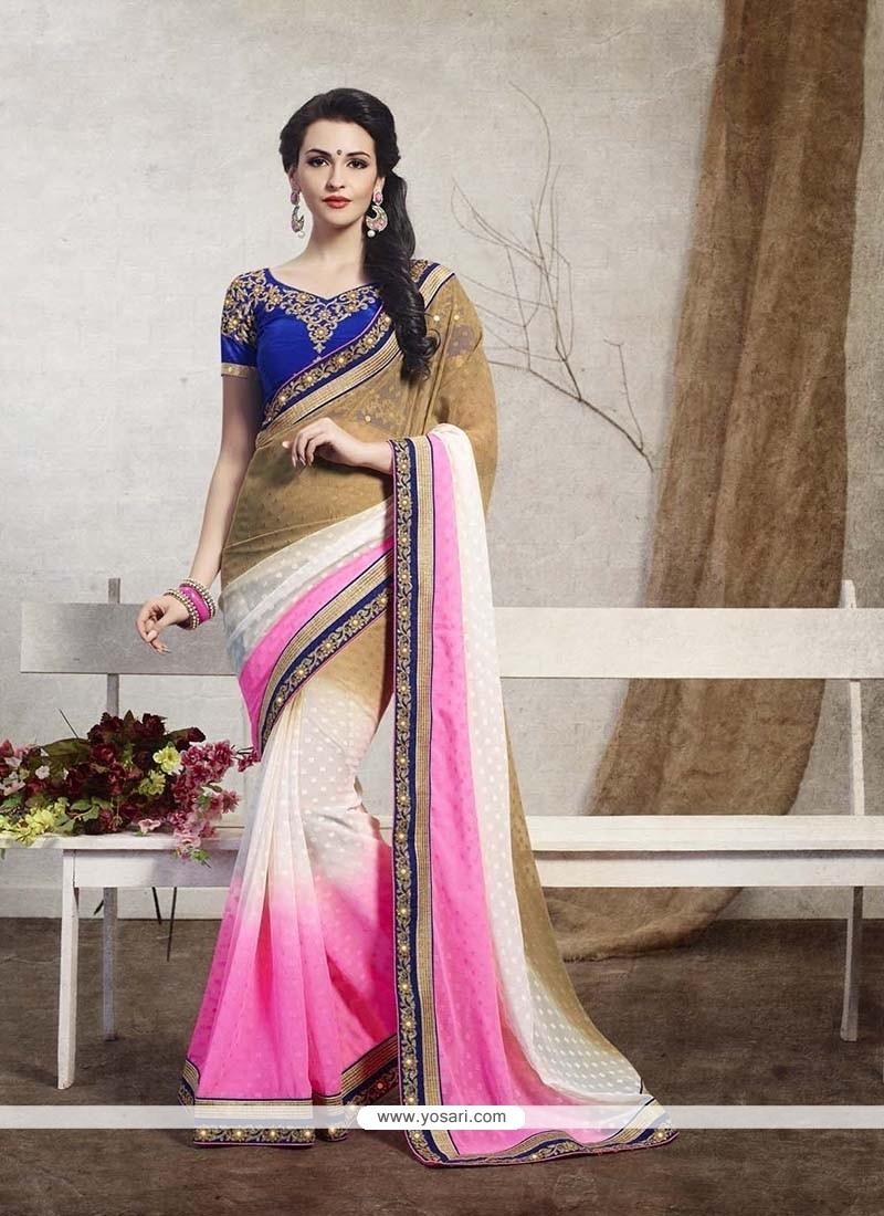 Magnetize Pink Patch Border Work Jacquard Designer Saree