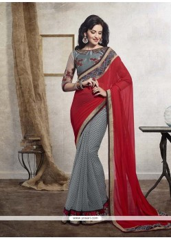 Sightly Embroidered Work Designer Saree