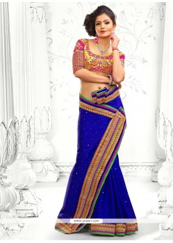 Conspicuous Blue Faux Chiffon Saree