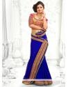 Conspicuous Blue Faux Chiffon Saree