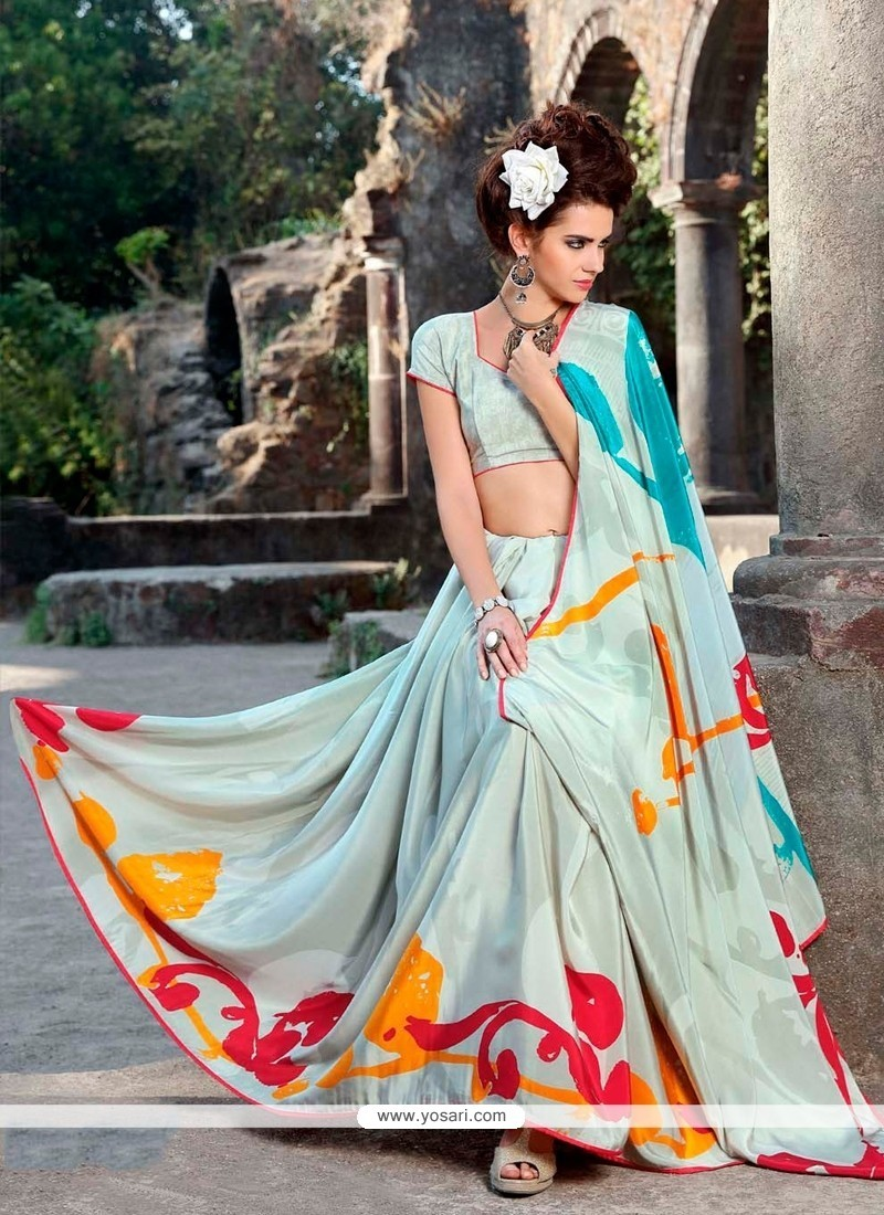 Precious Print Work Faux Crepe Casual Saree