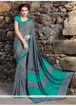 Dignified Print Work Faux Crepe Casual Saree