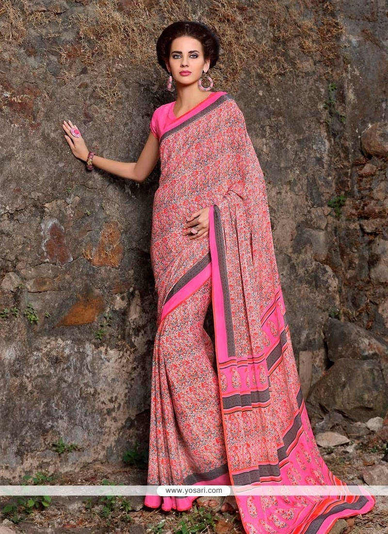 Dainty Print Work Pink Casual Saree