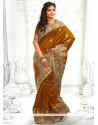 Brown Stone Work Designer Saree