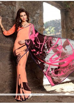 Fine Faux Crepe Multi Colour Casual Saree